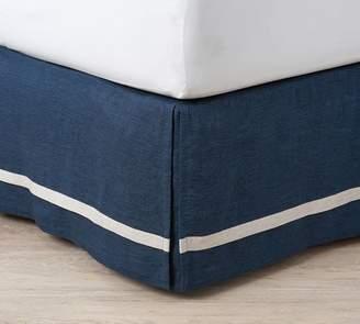 Pottery Barn Belgian Flax Linen Contrast Flange Bed Skirt - Midnight