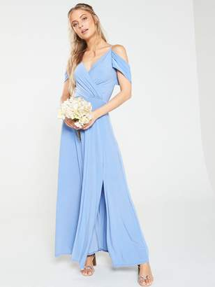 e467eefdf3c5d7 Very Occasion Cold Shoulder Jersey Maxi Dress - Powder Blue