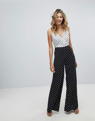 Missguided Mixed Strap Polka Dot Jumpsuit