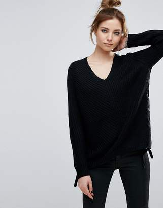 John & Jenn John + Jenn Cherie Lace Up Side Scoop Neck Jumper