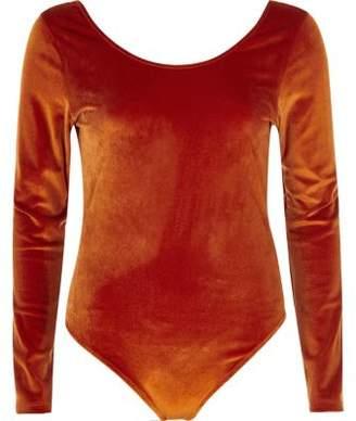 River Island Orange velour long sleeve scoop neck bodysuit