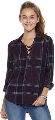 Mudd Juniors' Lace-Up Plaid Flannel Shirt