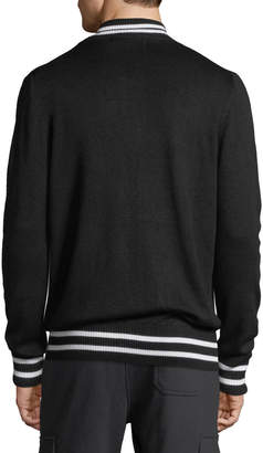 Slate & Stone Men's Varsity Zip-Front Wool Sweater, Black