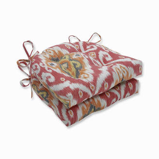 PILLOW PERFECT Pillow Perfect Set of 2 Ubud Coral Reversible Patio Seat Cushions