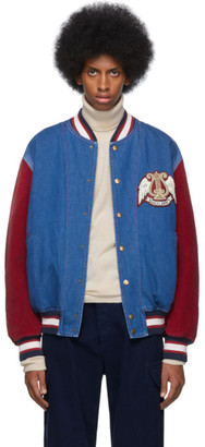Gucci Blue and Red Denim Bomber Jacket