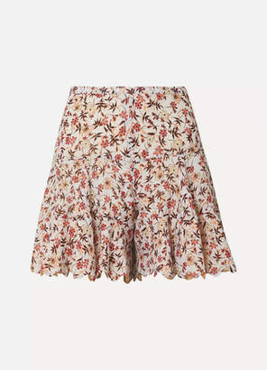 Chloé Scalloped Floral-print Georgette Shorts - Off-white