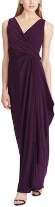 Chaps Petite Surplice Drape-Front Full-Length Dress