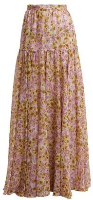 Giambattista Valli Flower Obsession-print silk skirt