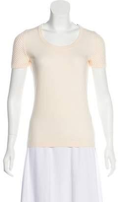Akris Punto Short Sleeve Open Knit Top