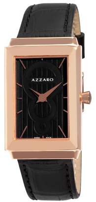 Azzaro Men's 'Legand Rectangular' Swiss Quartz Gold-Tone and Leather Dress Watch