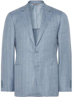 Canali Light-Blue Slim-Fit Herringbone Wool, Silk And Linen-Blend Blazer