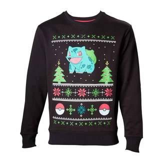 Pokemon Men's Bulbasaur In The Snow Christmas Jumper, L, Charcoal/