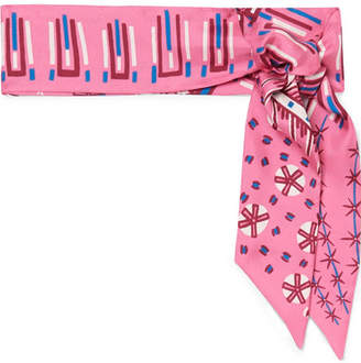 Valentino Printed Silk-twill Scarf - Pink