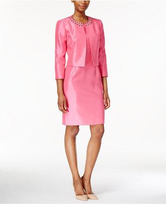 Kasper Beaded Jacket & Sheath Dress Suit $240 thestylecure.com