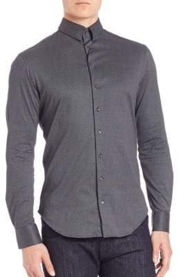 Giorgio Armani Button-Down Micro Check Shirt