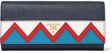 prada Prada - Zig Zag Textured-leather Continental Wallet - Navy