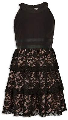 BCBGirls Girls' Tiered Lace Dress with Faux-Leather Trim - Big Kid