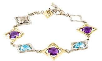 David Yurman Amethyst & Topaz Quatrefoil Link Bracelet