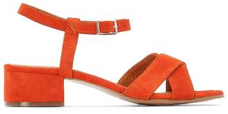 La Redoute Collections Orange Leather Sandals with Crossover Straps