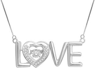 JCPenney FINE JEWELRY Love in Motion 1/8 CT. T.W. Diamond Sterling Silver Love Pendant Necklace