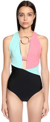 Fausto Puglisi Color Block Lycra Bodysuit W/ Front Ring