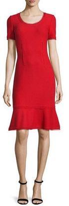 St. John Collection Textured Short-Sleeve Flounce Dress, Paprika $1,295 thestylecure.com