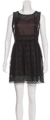 RED Valentino Embroidered Mesh-Trimmed Dress