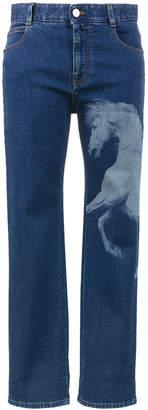 Stella McCartney Horse print mid rise boyfriend jeans