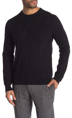 Perry Ellis Patterned Rib Crew Neck Sweater
