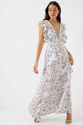 Next Womens Glamorous Floral Plunge Ruffle Dress