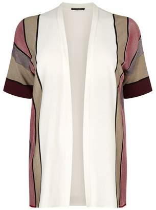 Marina Rinaldi Striped Open Front Cardigan