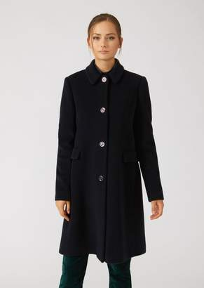Emporio Armani Wool Blend Broadcloth Coat With Classic Collar