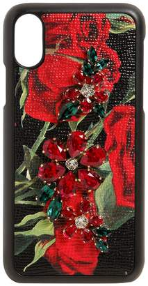 Dolce & Gabbana Roses & Crystals Leather Iphone X Case
