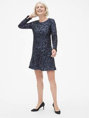 Gap Long Sleeve Sequin Swing Dress