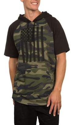 Americana Men's Short Sleeve Military Flag Camo French Terry Hoodie, Up to size 2XL