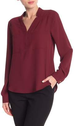 Nine West Patch Pocket Long Sleeve Blouse