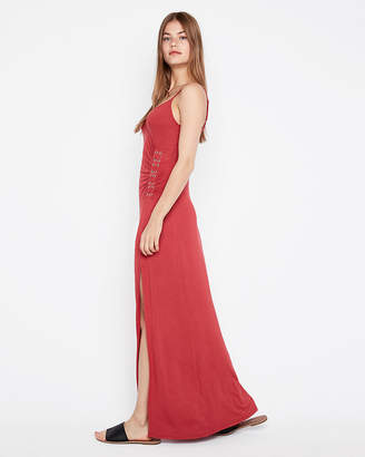 Express Lace-Up Grommet Maxi Dress