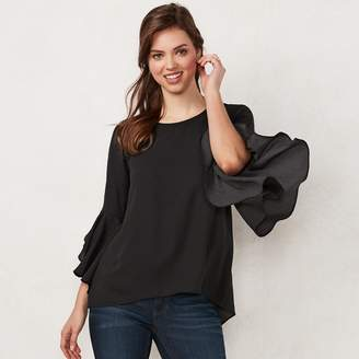 Lauren Conrad Petite Ruffle Sleeve Split-Back Top