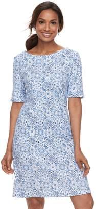 Croft & Barrow Petite Ribbed Elbow Sleeve Dress