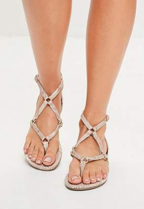 Missguided Nude Harness Strap Snake Print Flat Sandals