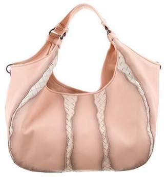 Bottega Veneta Intrecciato-Trimmed Leather Hobo Pink Intrecciato-Trimmed Leather Hobo