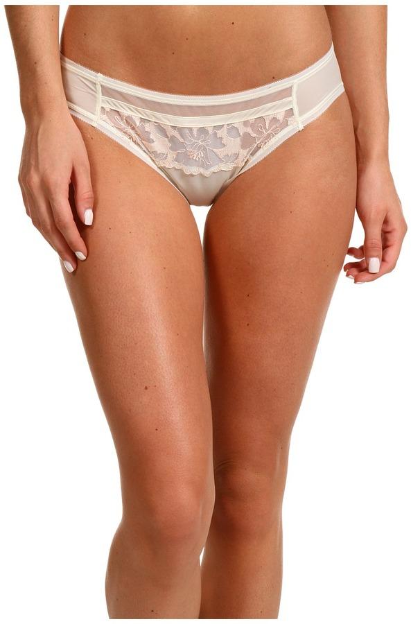Calvin Klein Underwear ck Black Sheer Floral Bridal Bikini F3600 (Ivory/Silk Stockings) - Apparel