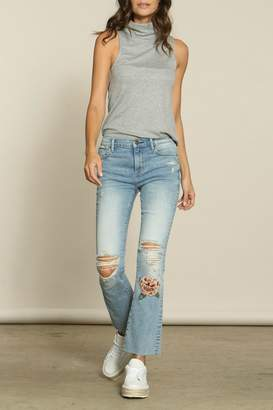 Driftwood Embroidered Kick-Flare Jeans