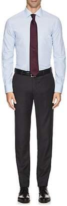 Armani Collezioni MEN'S STRIPED COTTON POPLIN DRESS SHIRT - BLUE SIZE 18