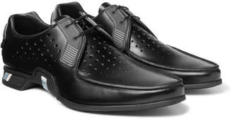 Prada Rubber-Trimmed Perforated Spazzolato Leather Derby Shoes