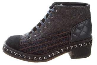 Chanel Tweed Cap-Toe Ankle Boots