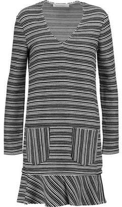 See by Chloe Fluted Striped Cotton-Blend Mini Dress
