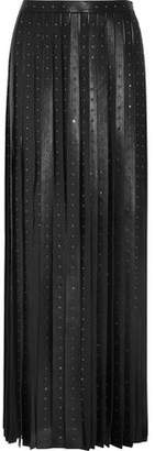 Valentino Crystal-Embellished Leather Maxi Skirt