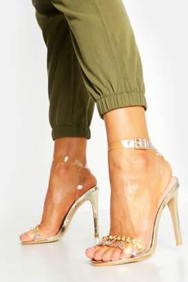 boohoo Embellished Clear Strap 2 Part Heels