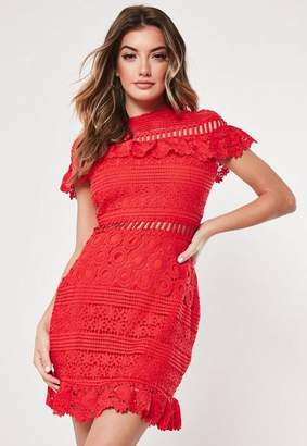 0ec87e1e8f3e Missguided Red Lace High Neck Short Sleeve Skater Dress, Red